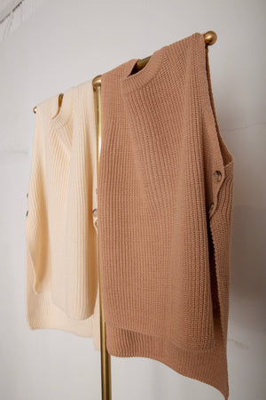 button knit vest - 2 colour