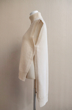 2 way high neck vest (ivory)