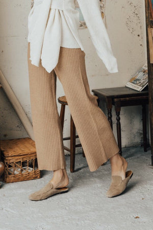〈再入荷〉knit wide pants-beige brown