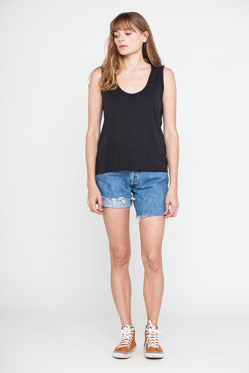 Hemp Holey Black Raw Edge Tank