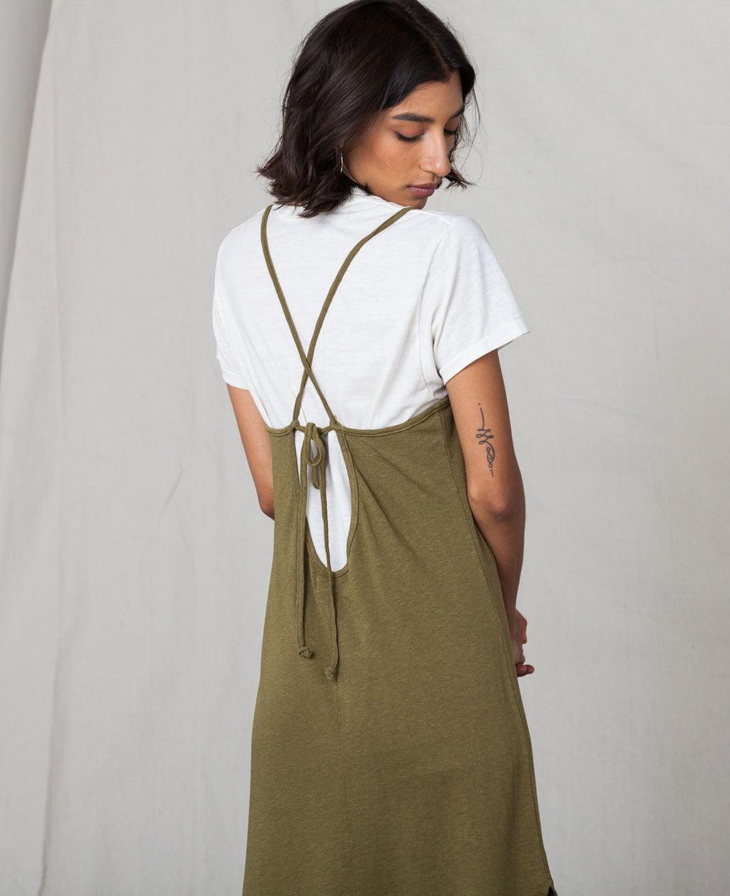 Olive Cami Midi Recycled Cotton Dress