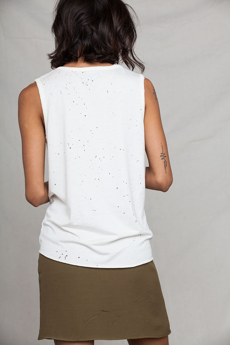 Hemp Holey Natural Raw Edge Tank