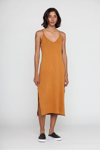 Rust Apron Midi Recycled Cotton Dress