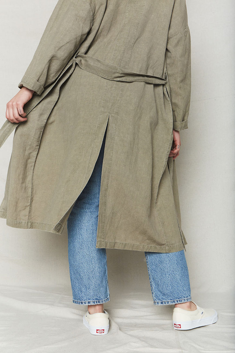 Stone Plant Dyed Linen Easy Robe