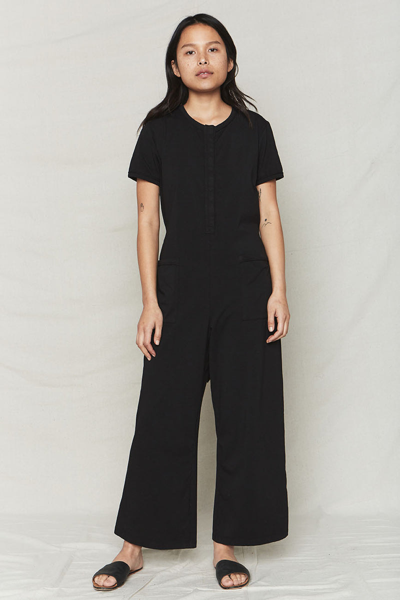 Black Organic Cotton Spring Jumpsuit