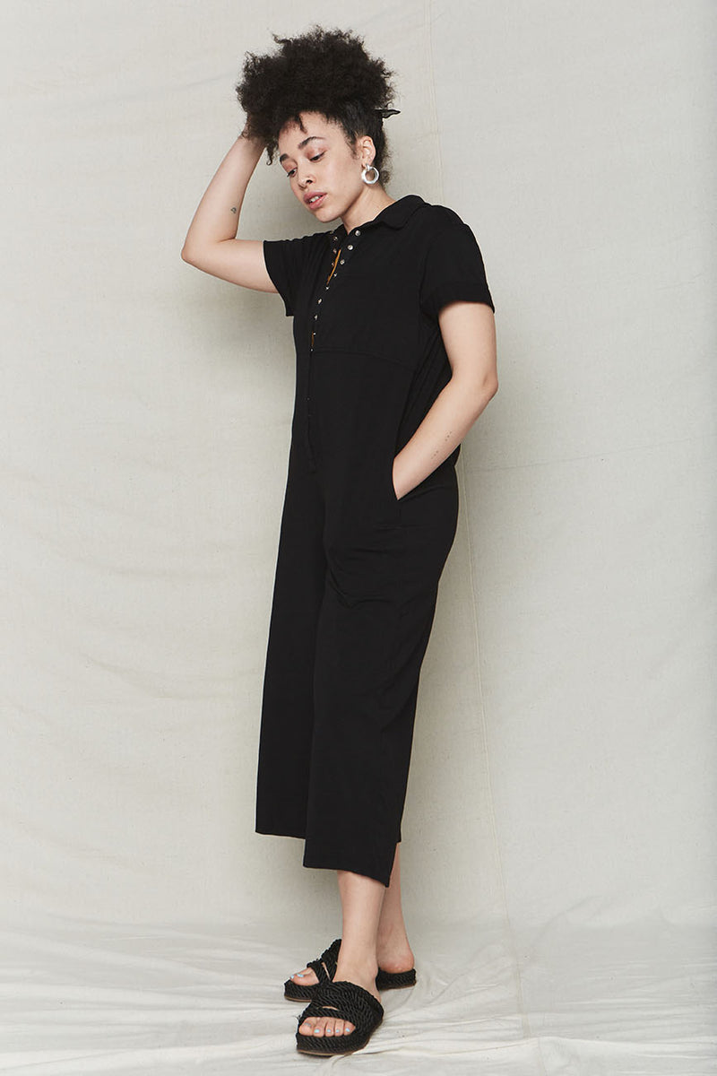 Black Organic Cotton Oversized Jumpsuit