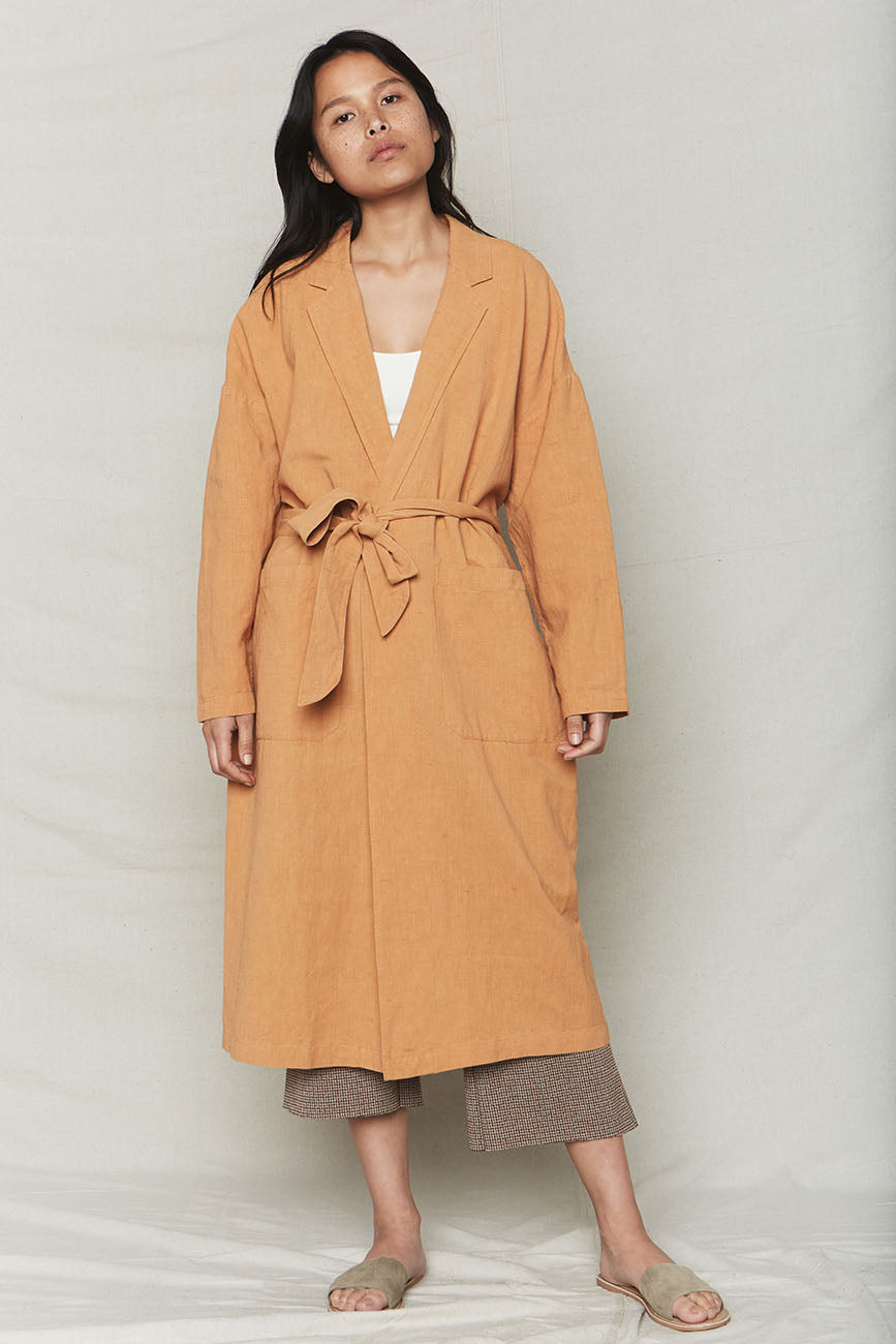 Melon Plant Dyed Linen Easy Robe