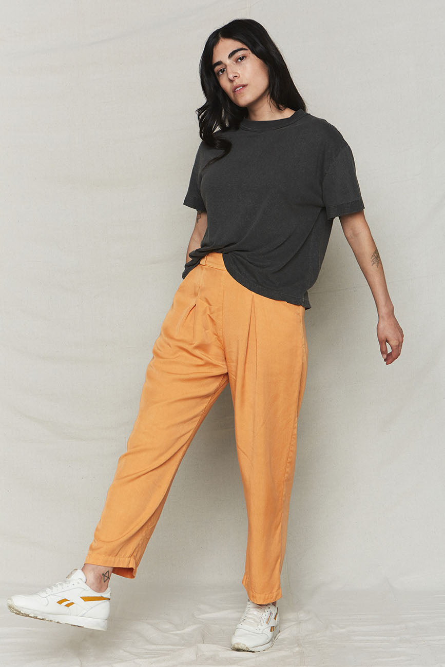 Melon Tencel Pleat Pants