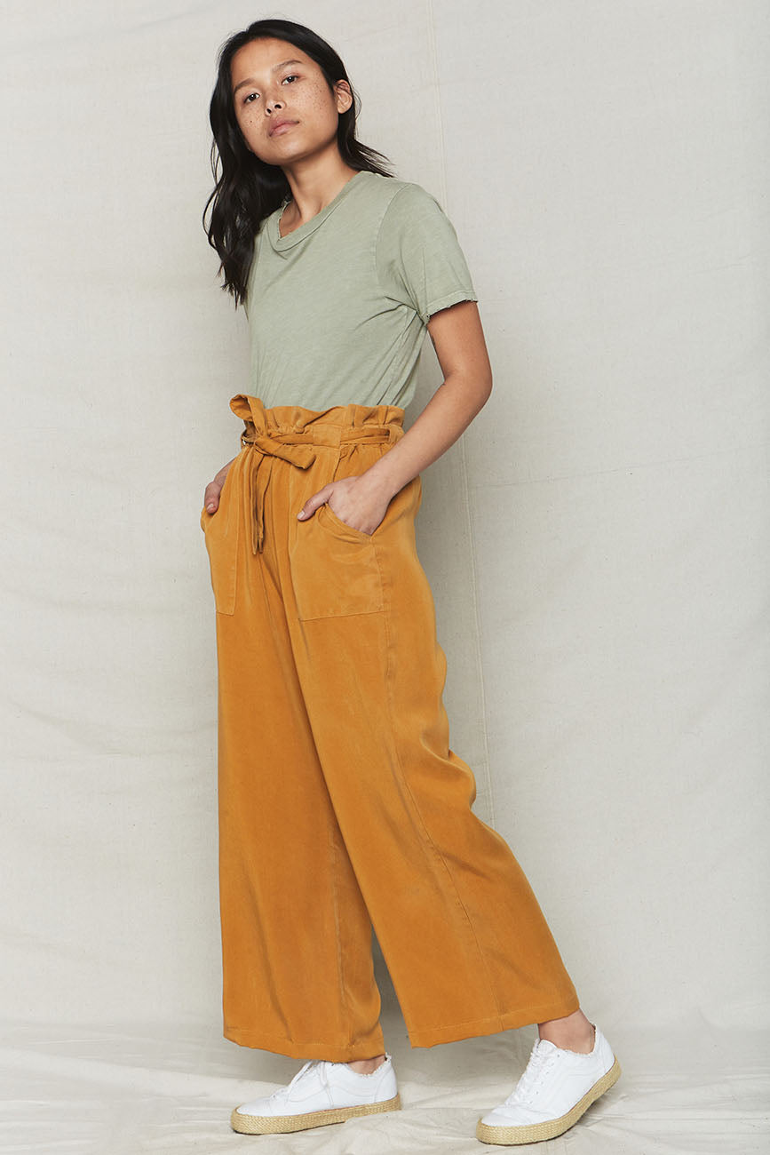 Image of Golden Tencel Paperbag Pants