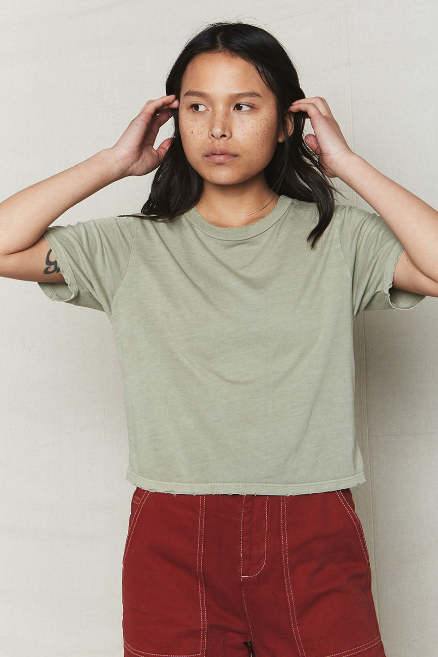 Stone Distressed Hemp Crop Tee