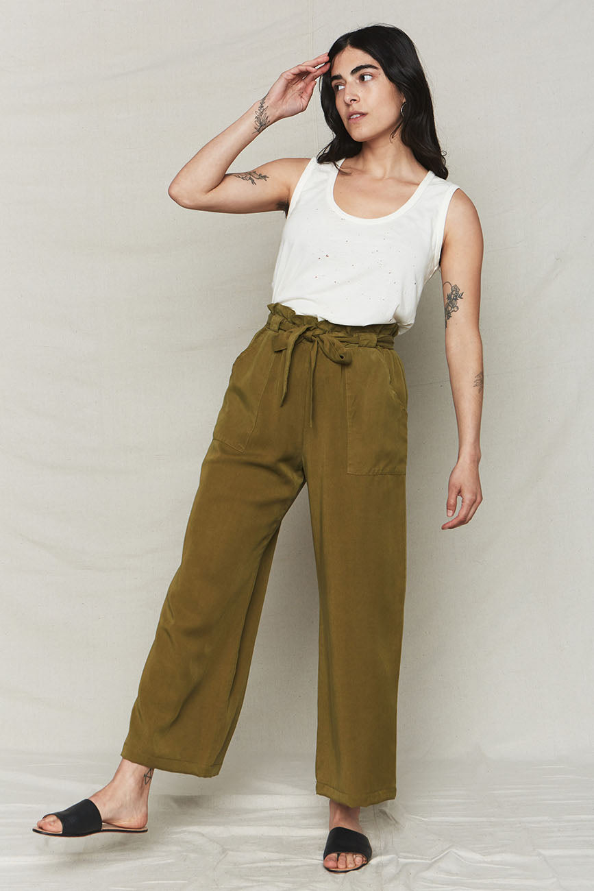 Image of Avocado Tencel Paperbag Pants