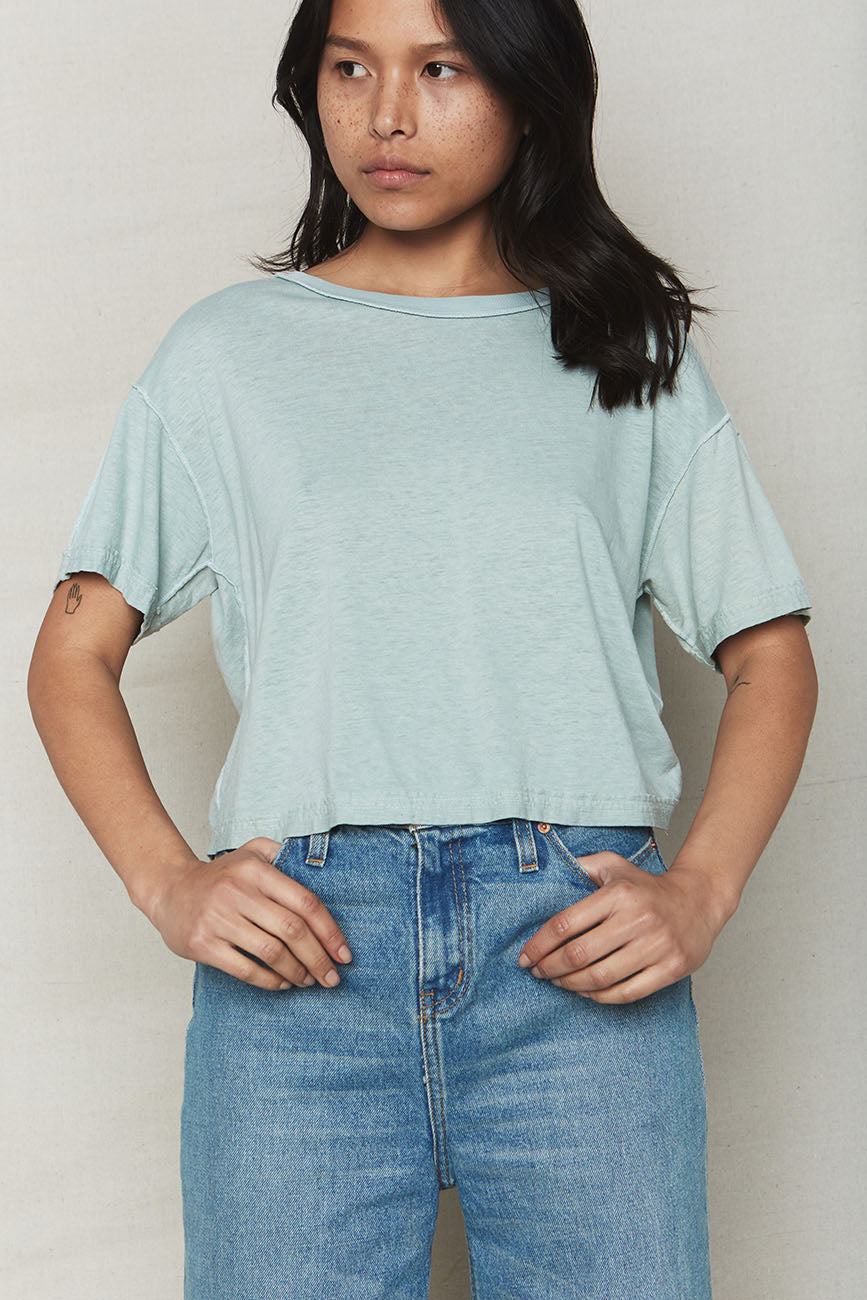 Image of Sky Hemp Inside Out Crop Tee