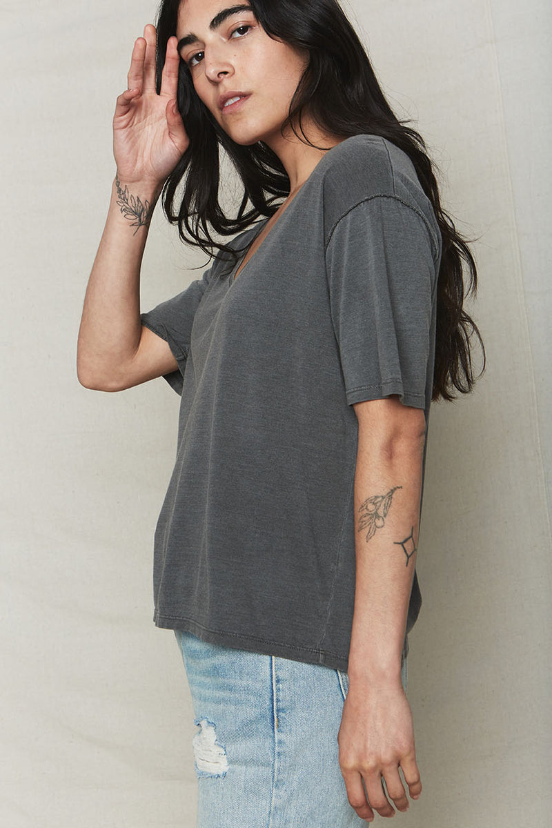 Vintage Black Hemp V-Neck Tee