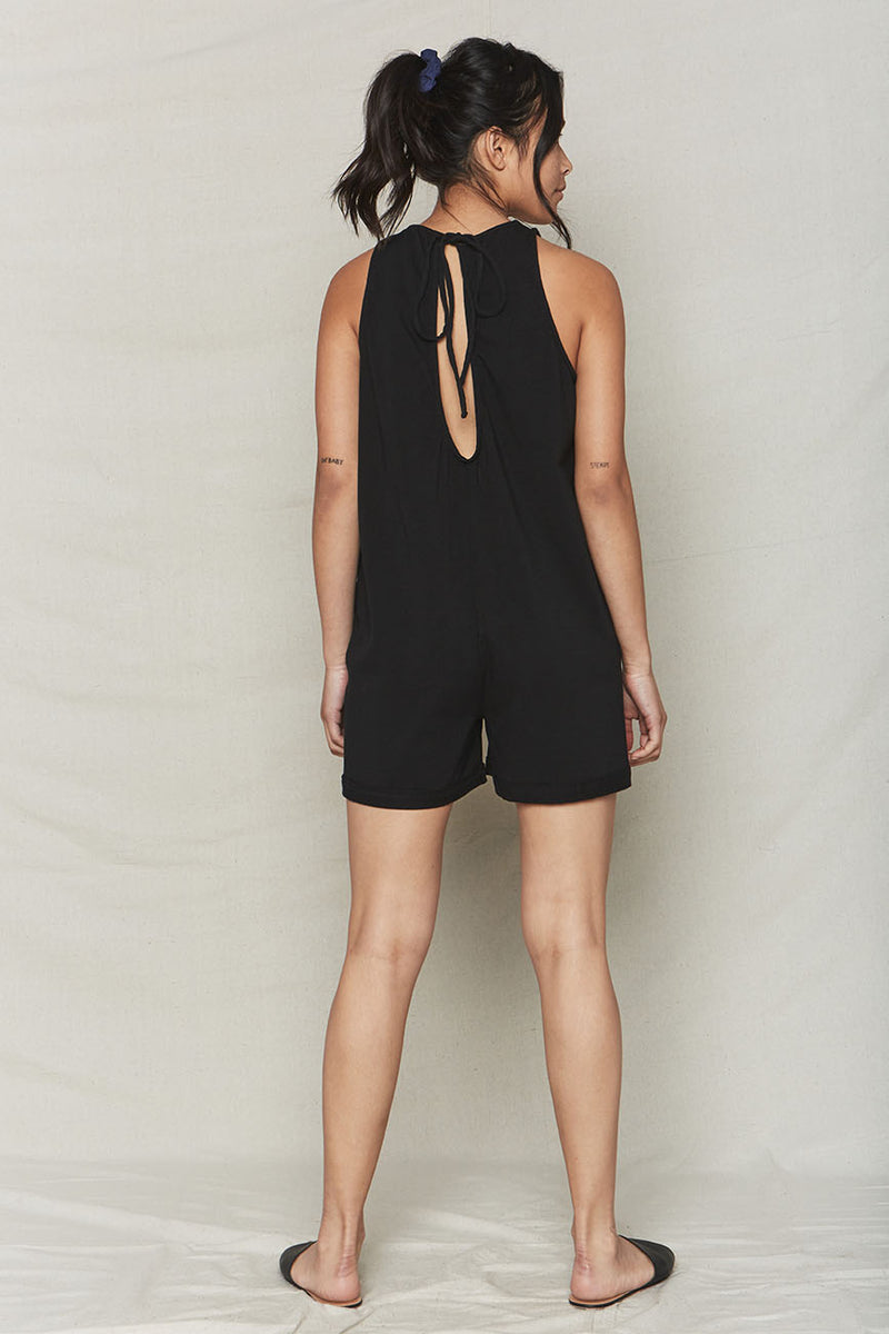 Black Organic Cotton Everyday Romper