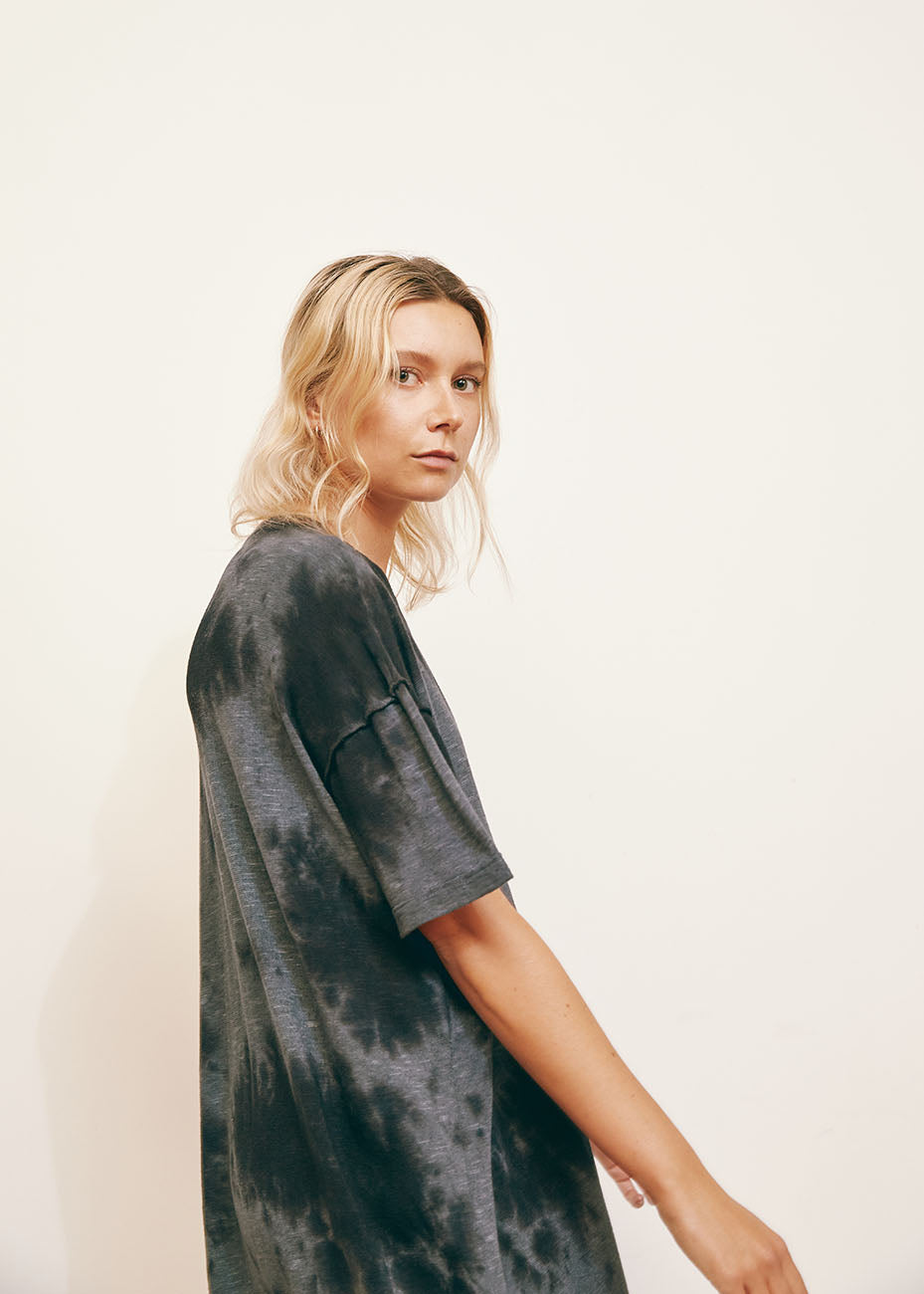 Black Oversized Tie Dye Recycled Cotton Dress