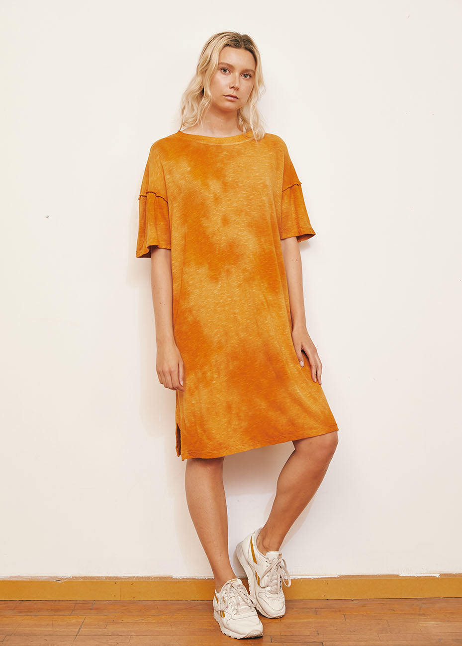 Golden Oversized Tie Dye Recycled Cotton Dress