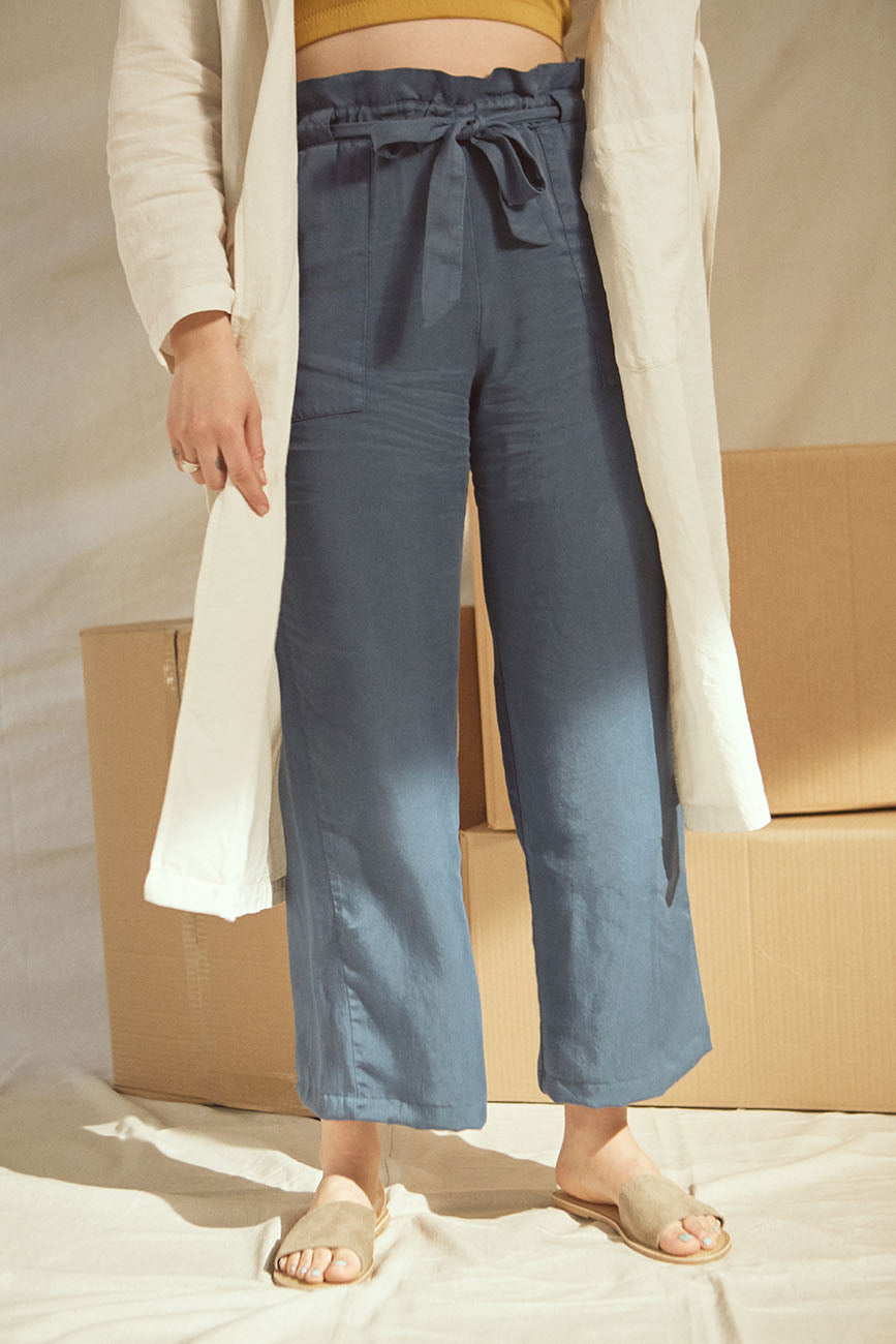 Image of Ocean Tencel Paperbag Pants