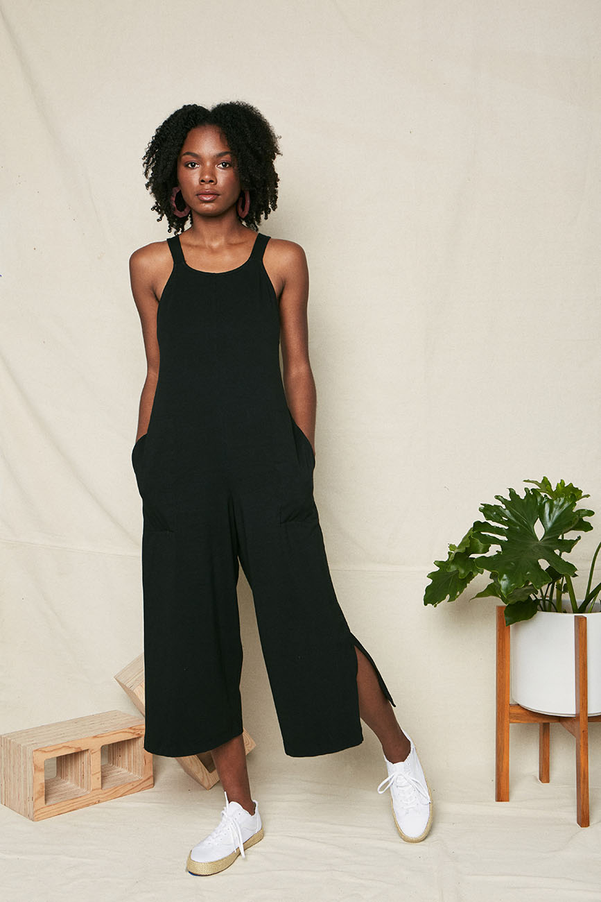 black organic cotton tie back jumpsuit 5