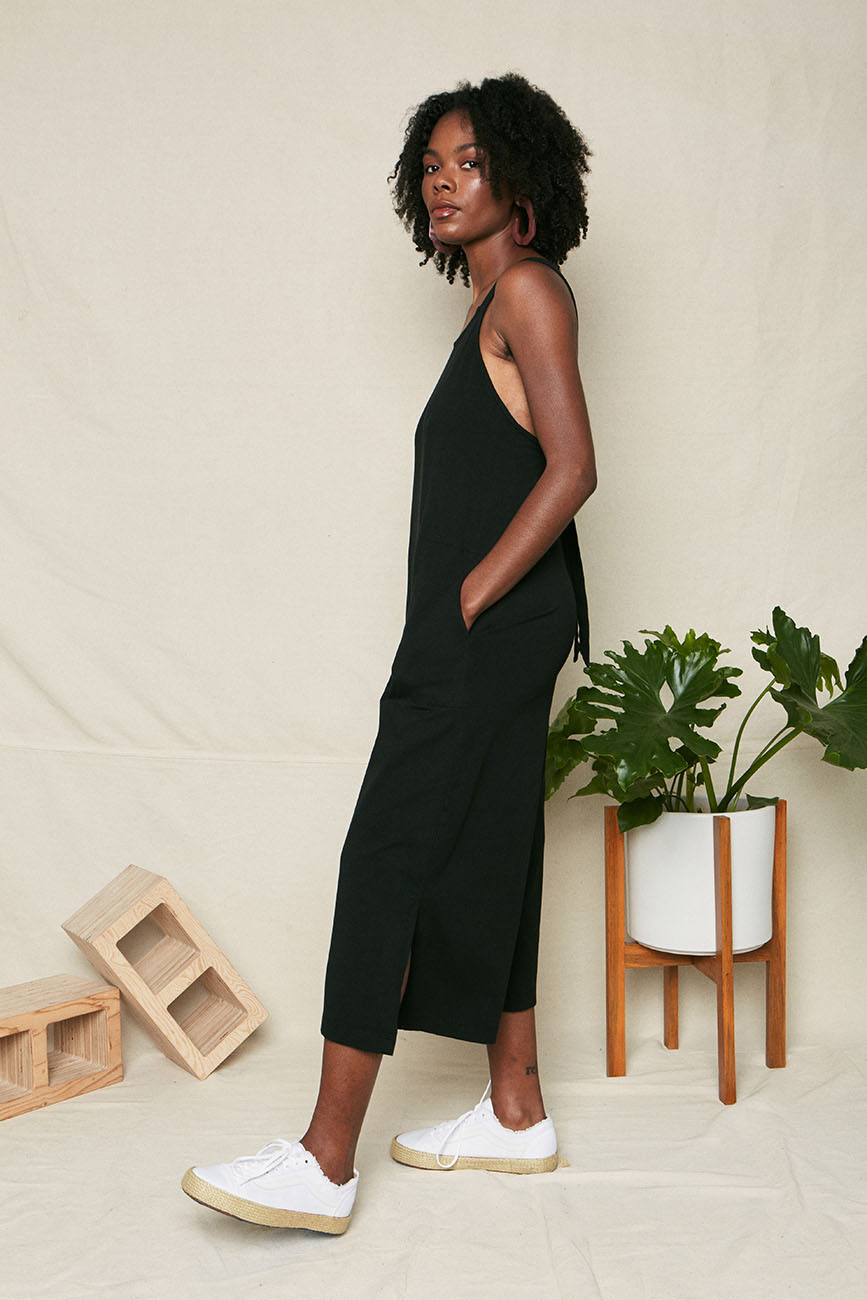 black organic cotton tie back jumpsuit 3