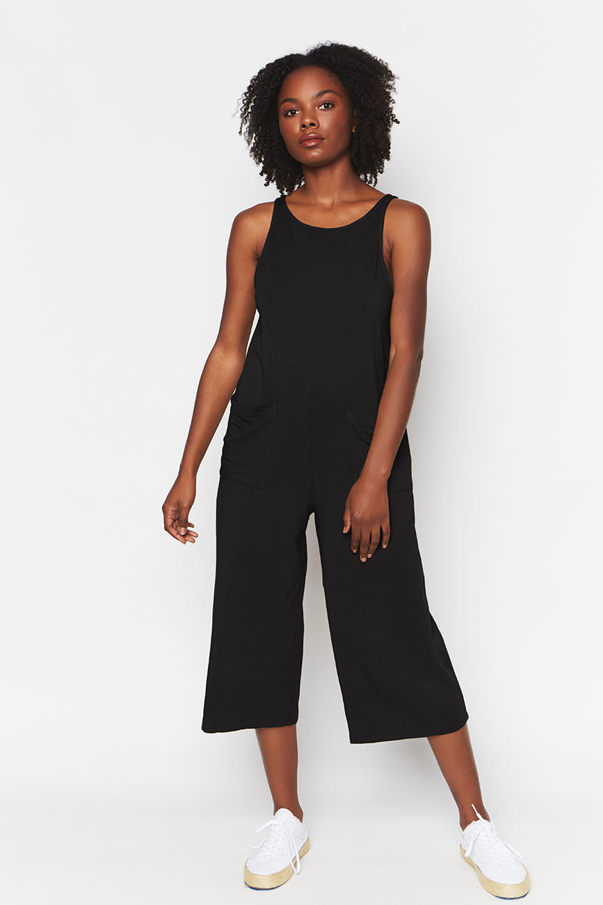 black organic cotton jumpsuit