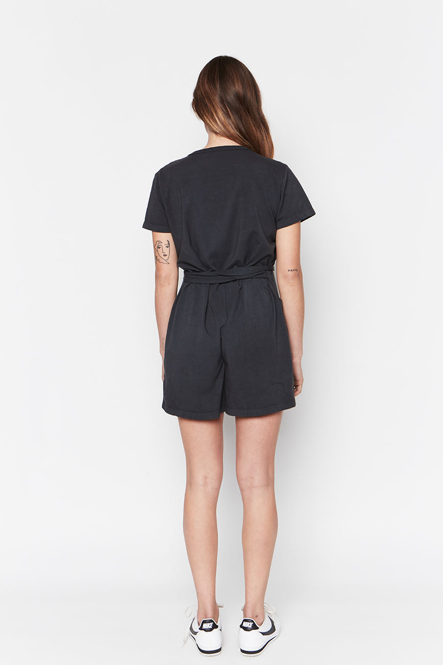 Black Organic Cotton Romper