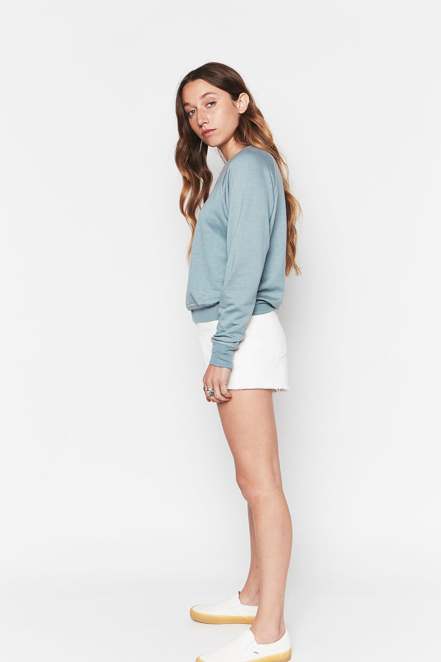 Tencel Cropped Sweatshirt Sky 2