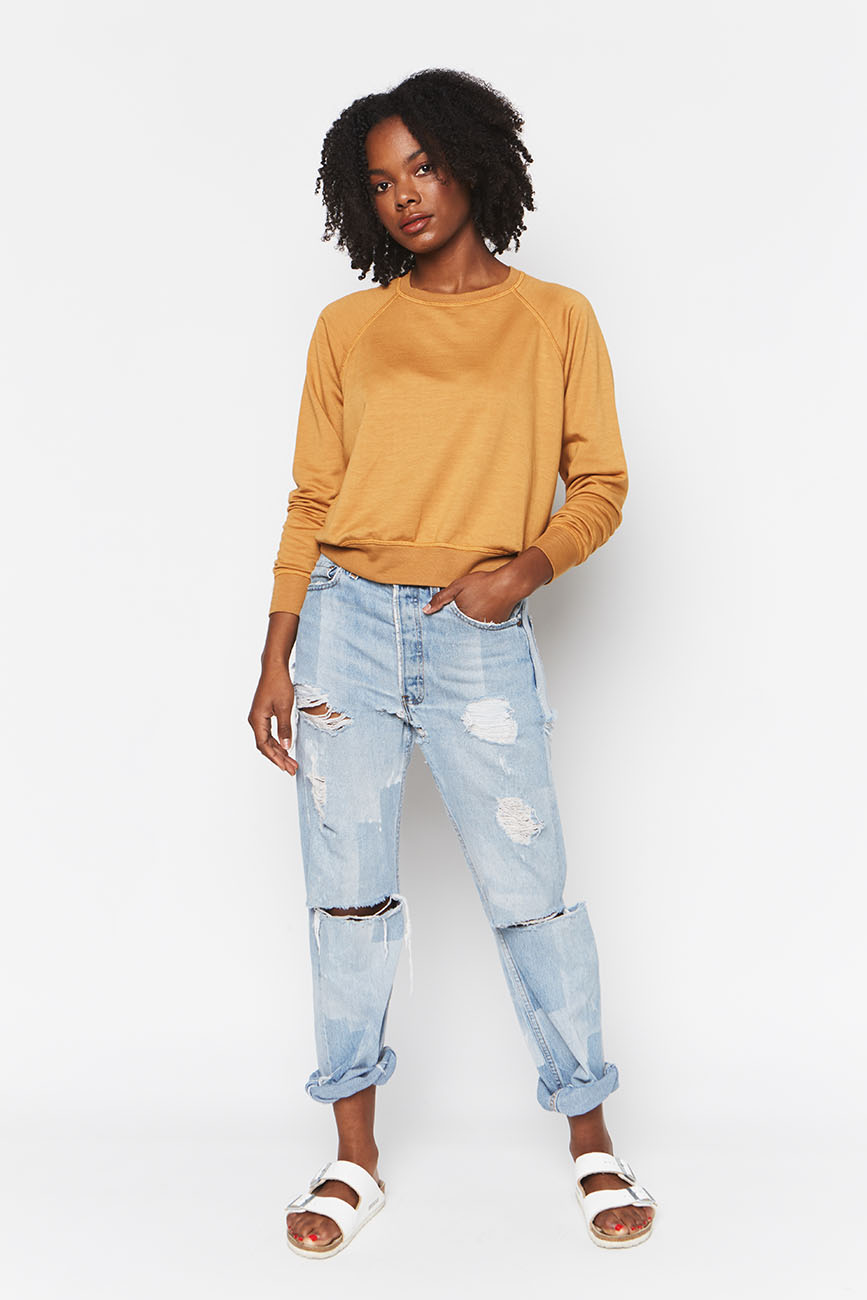 Tencel Cropped SweatshirT OCHRE 4