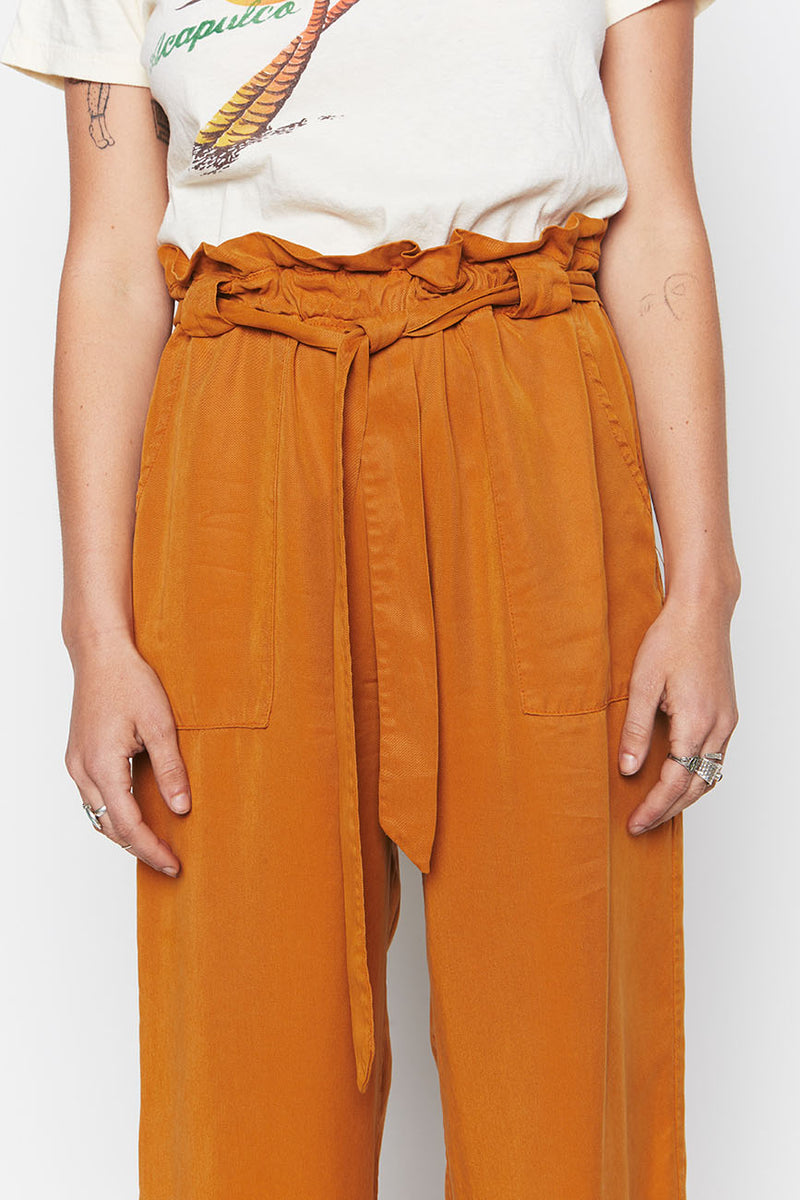 Ochre Tencel Paperbag Pants