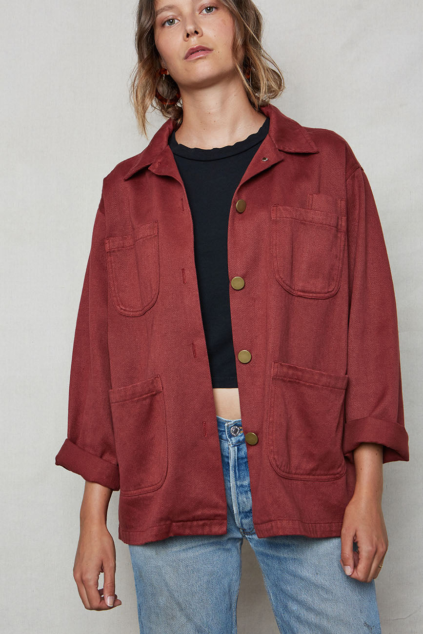 Wine Hemp Utility Jacket - Back Beat Rags