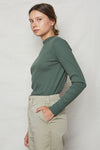 Sage Organic Cotton Rib Mock Neck - Back Beat Rags