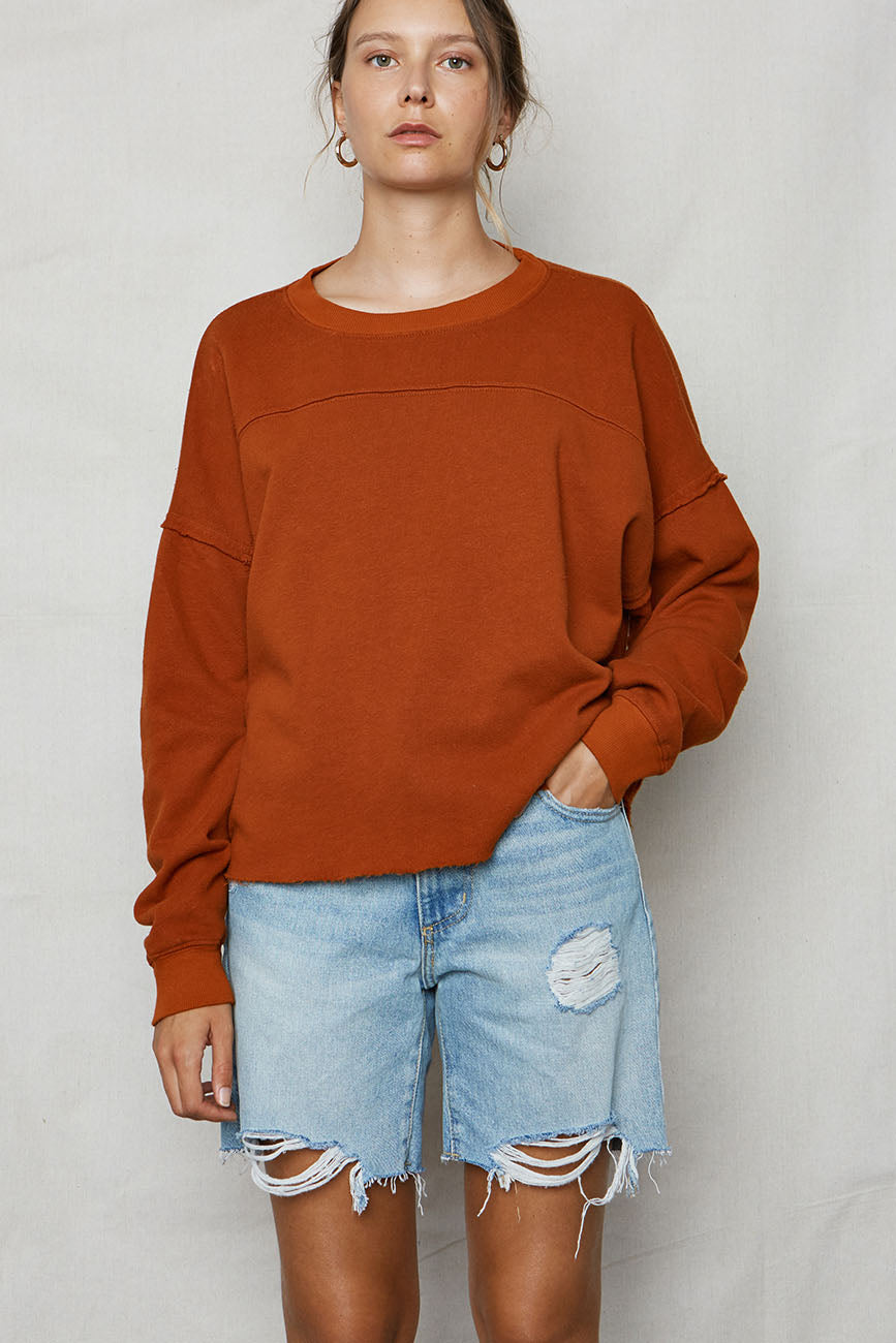 Ochre Hemp Cut Off Sweatshirt - Back Beat Rags