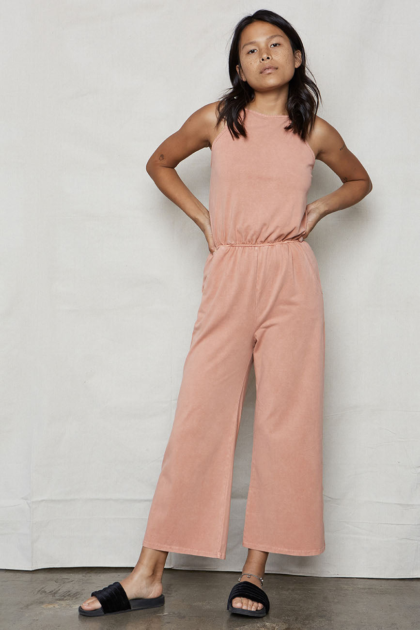Pink Vintage Wash Organic Cotton High Neck Jumpsuit - Back Beat Rags