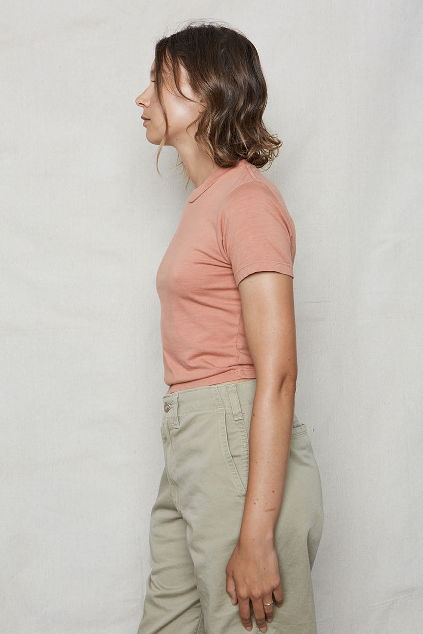 Dusty Pink Hemp Crop Tee - Back Beat Rags