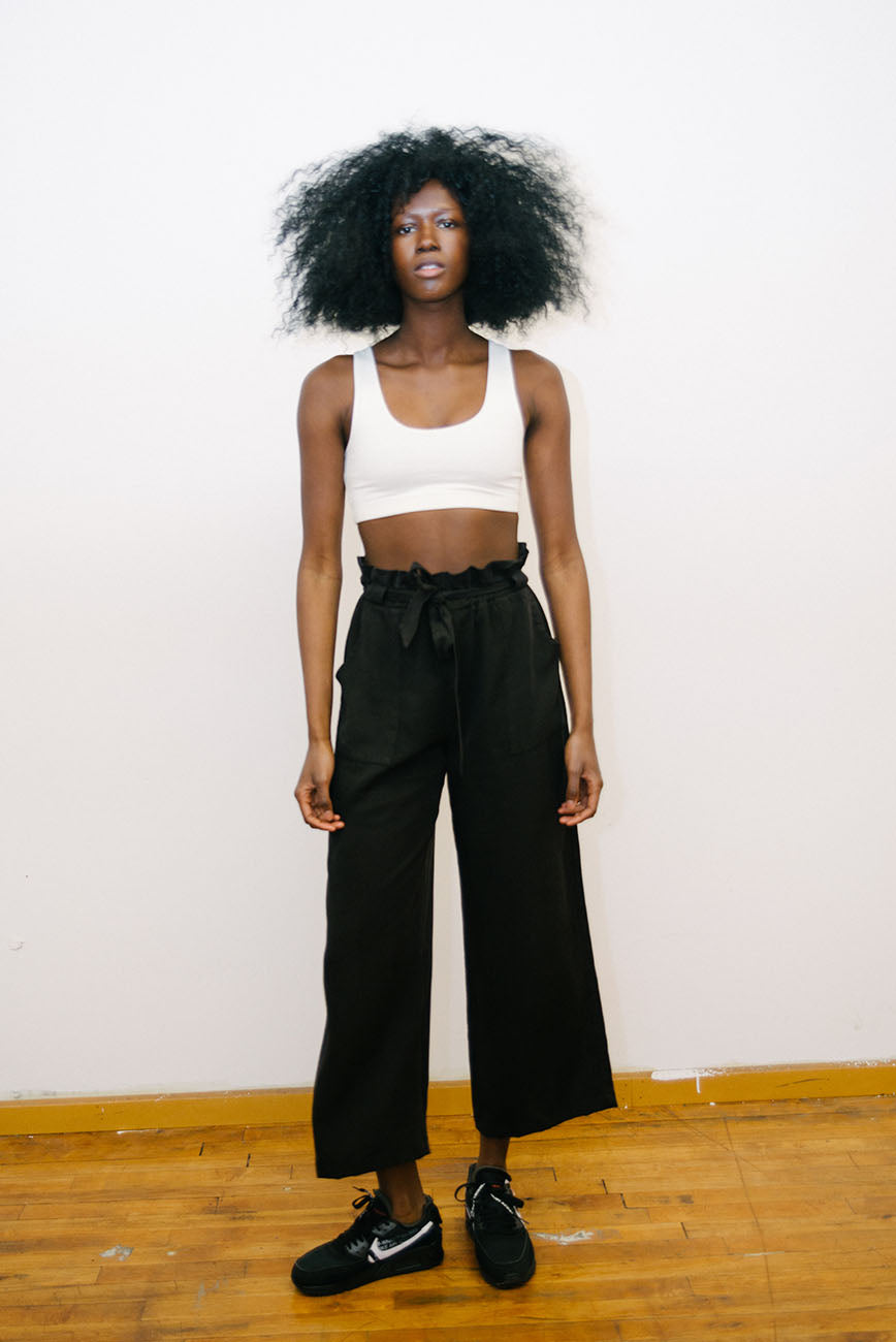 Black Tencel Paperbag Pants
