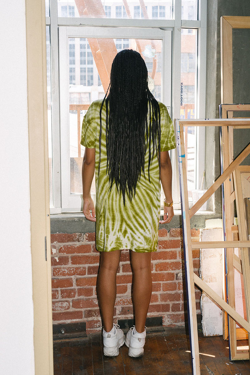 Summer Green Tie Dye Recycled Cotton Dress