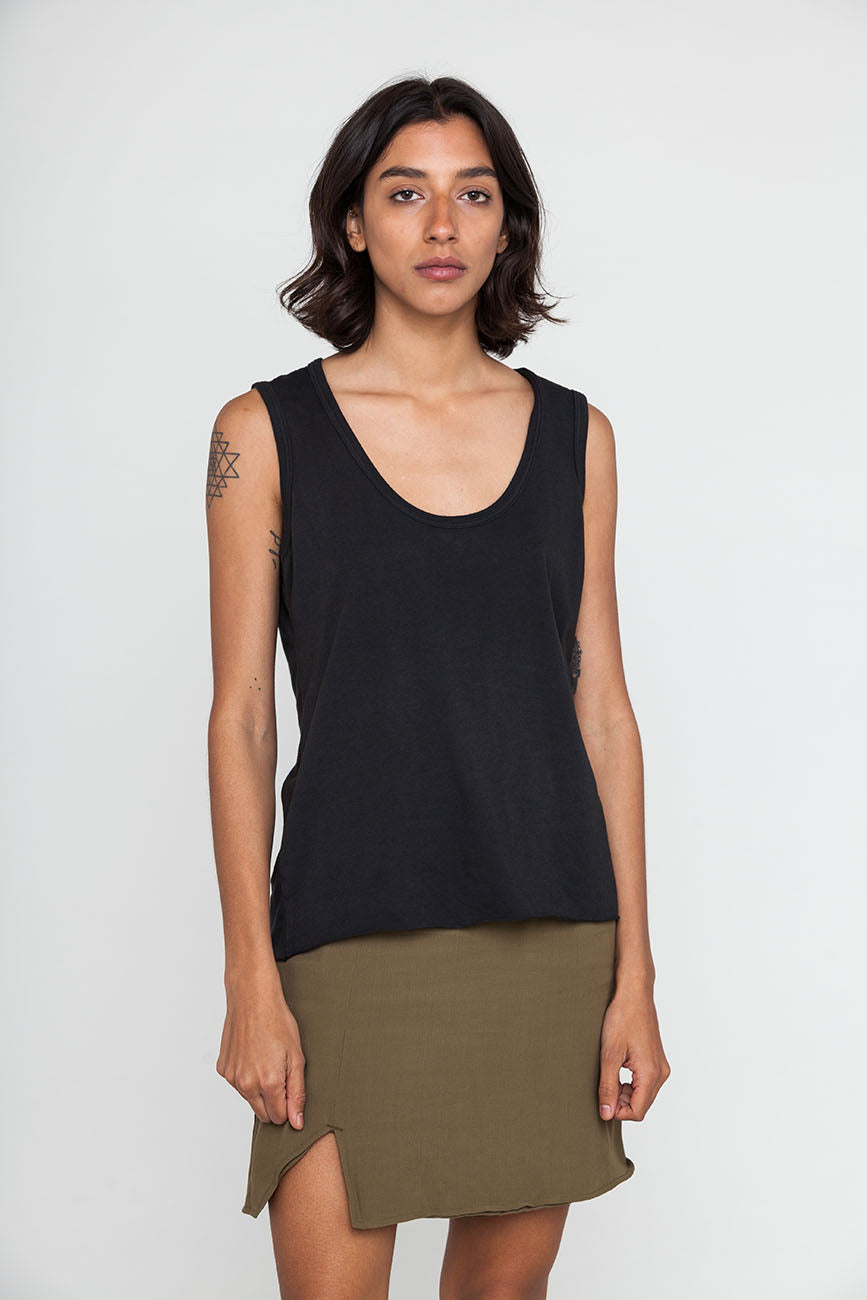 Hemp Black Raw Edge Tank