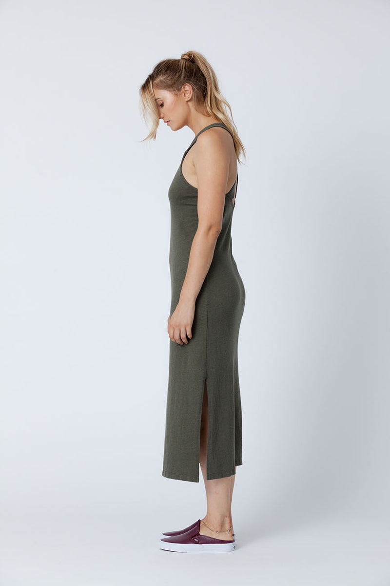 Forest Apron Midi Recycled Cotton Dress - Back Beat Rags