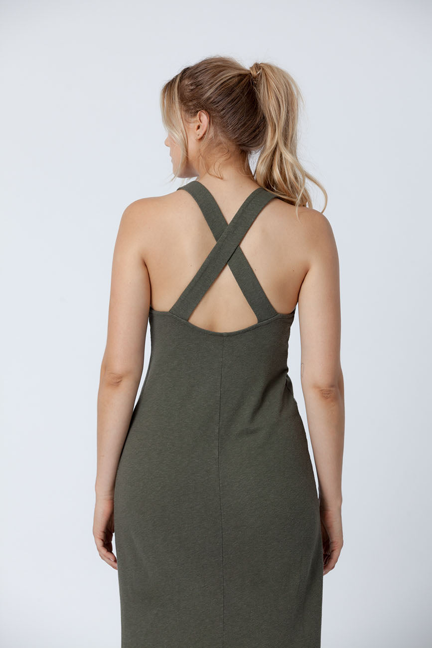 Forest Apron Midi Recycled Cotton Dress