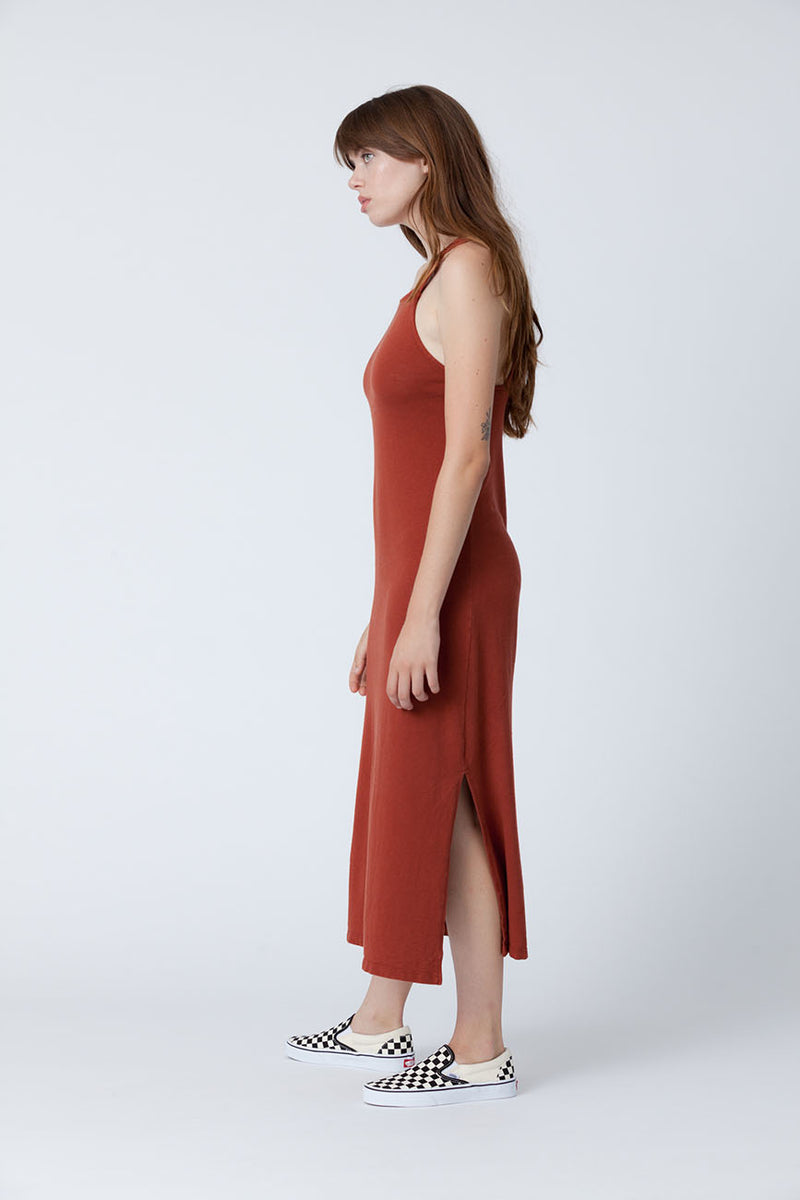 Rust Apron Midi Recycled Cotton Dress - Back Beat Rags