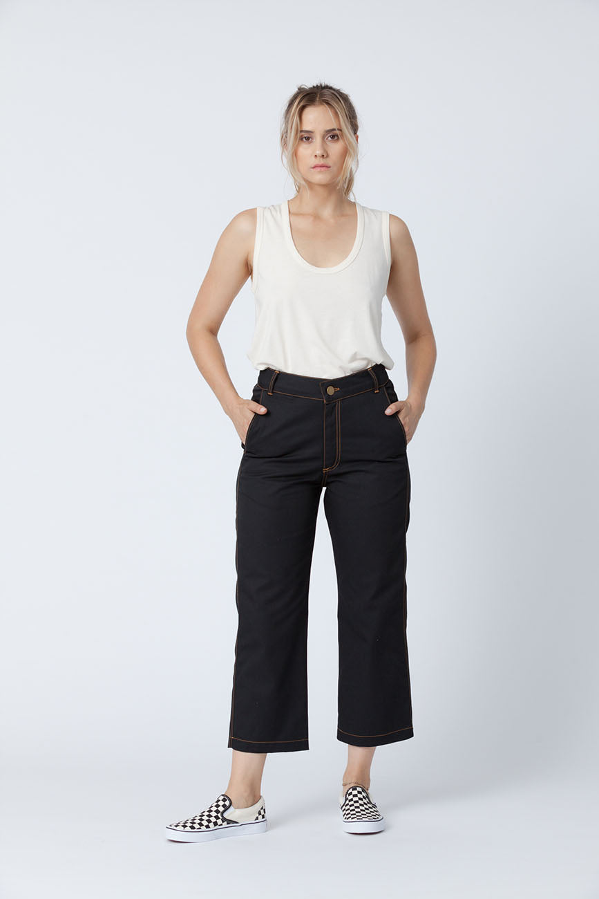 Organic cotton + Recycled Polyester Black Eco Twill Work Pants 5