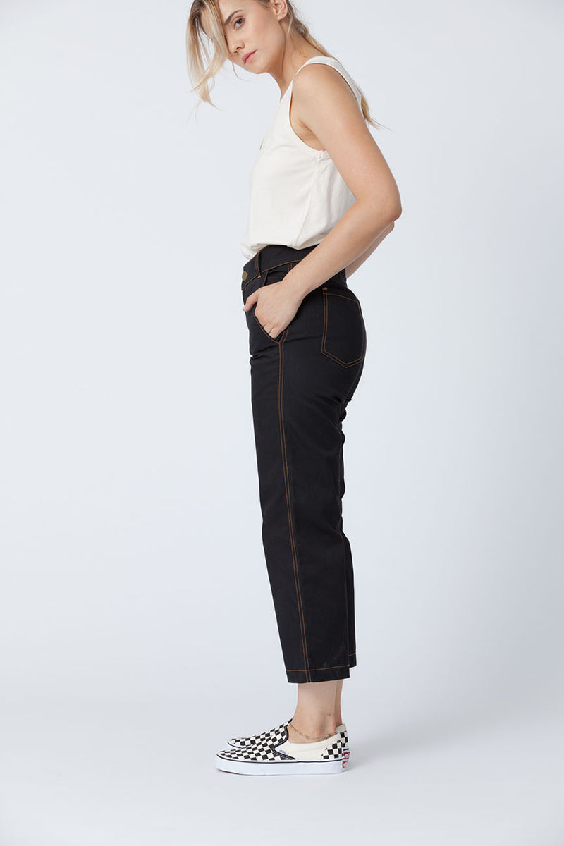 Organic cotton + Recycled Polyester Black Eco Twill Work Pants 3