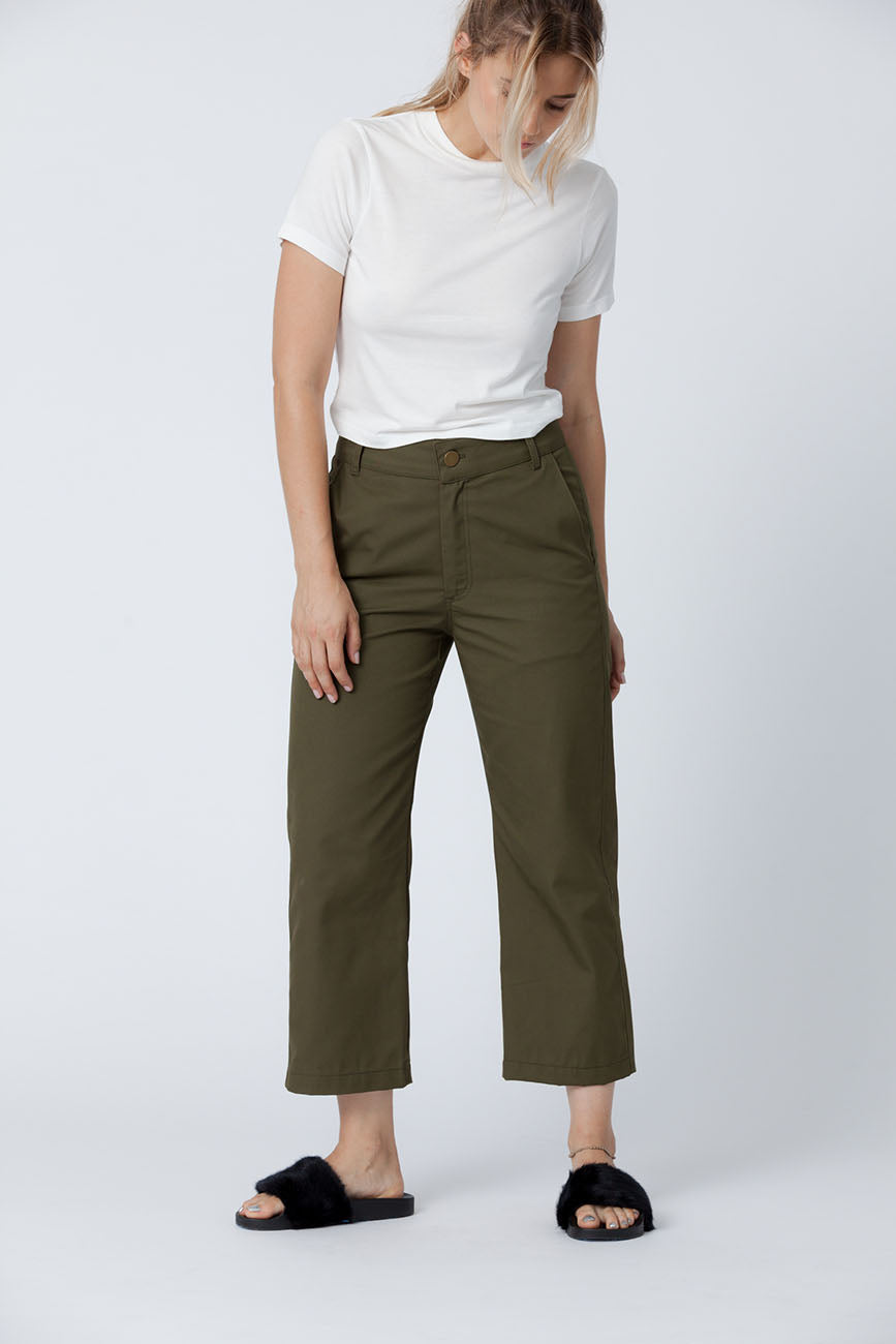 Organic cotton + Recycled Polyester Olive Eco Twill Work Pants 5