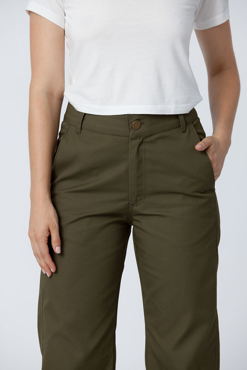 Organic cotton + Recycled Polyester Olive Eco Twill Work Pants 1
