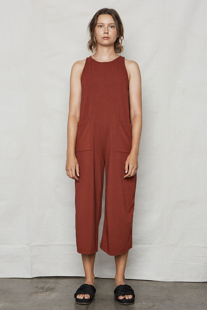 Wine Organic Cotton Everyday Jumpsuit