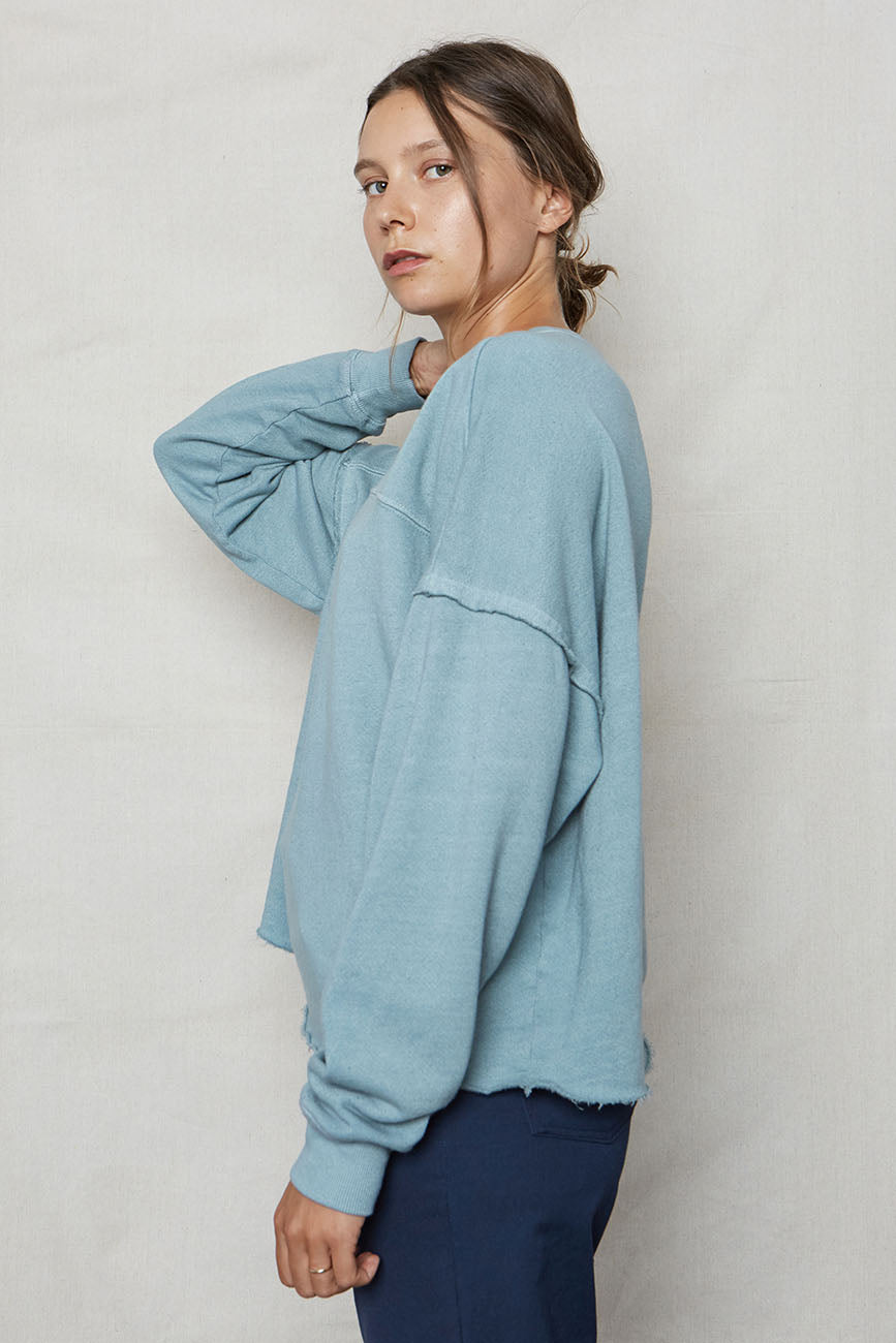 Sky Hemp Cut Off Sweatshirt - Back Beat Rags