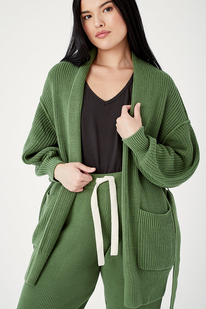 Organic Cotton Tie Cardigan