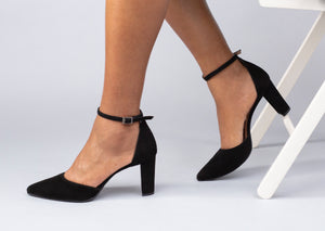 CoIX Shoes Seville Block Heel Ankle Strap Black Pump Size 11, 12, 13, 9, 10, 44, 45, 46