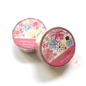 Mind Wave gold foil washi tape - Pink flower 94968