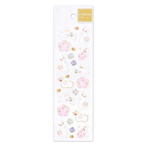 FORON gold foil sticker - Rabbit and flower 1304107