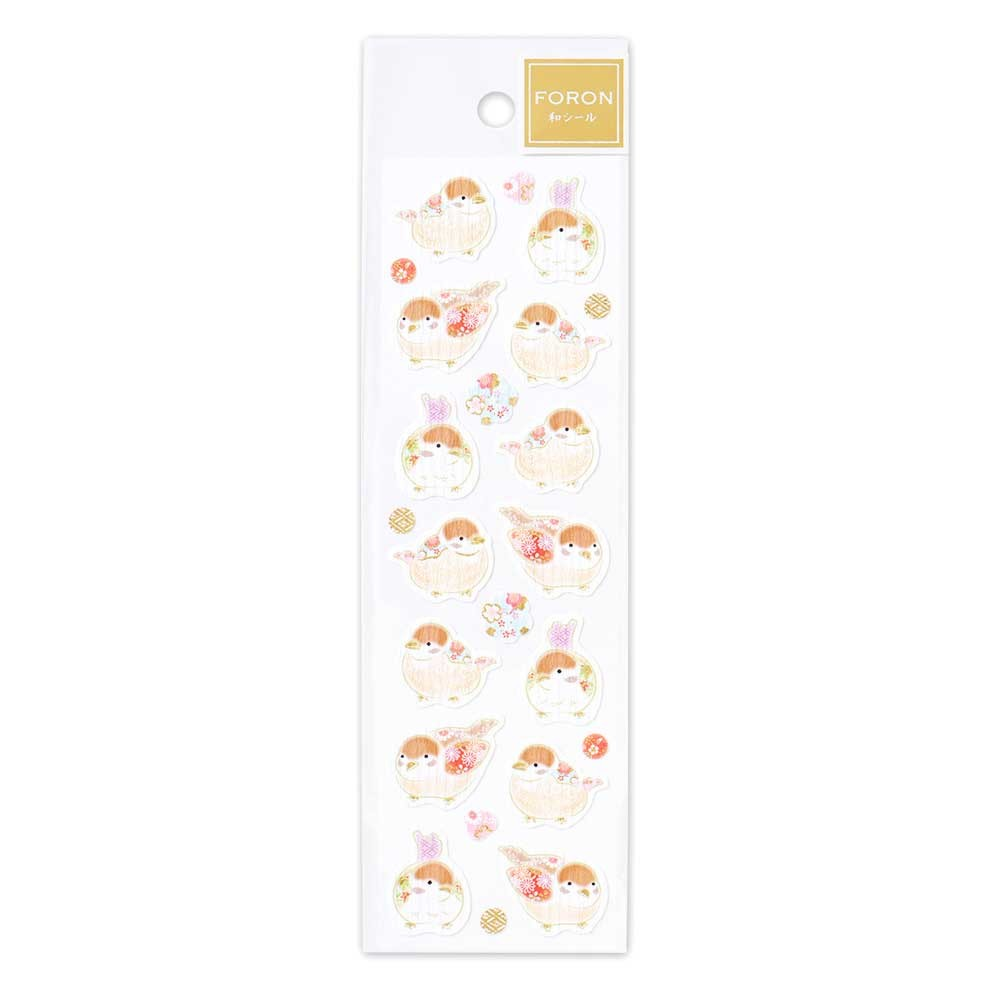 FORON gold foil sticker - Sparrow and flower 1304108